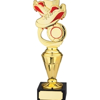 25cm Football Award Red and Gold. Fits A 1 Inch Centre