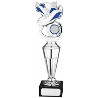 28cm Football Award Blue and Silver. Fits A 1 Inch Centre