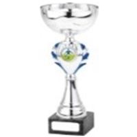 TRO3C 27cm Cup On Marble Base Silver Blue