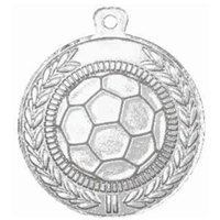 45mm Football Medal - Silver