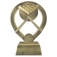 18cm Resin Pool Snooker Award. Antique Gold With Gold