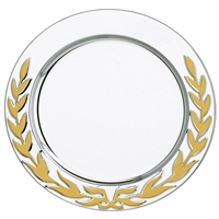 5 Inch Stainless Steel Tray Gold Laurel Wreath