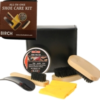 BIRCH 6 Piece Shoecare Kit Black Faux Leather Zip Case