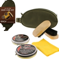 BIRCH 5 Piece Shoecare Kit Khaki Nylon Zip Bag