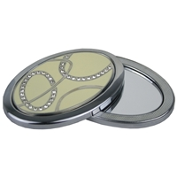 Cream Oval Compact Mirror Twist To Open In Gift