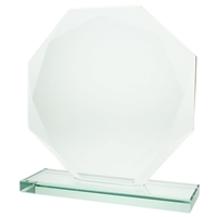 12cm Jade Glass Round Facet Award 10mm Thick