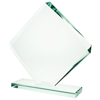 15cm Jade Glass Cube Facet Award 10mm Thick