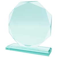 11.5cm Jade Glass Round Facet Award 10mm Thick