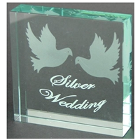 X69025 Glass Block Doves Silver Anniversary