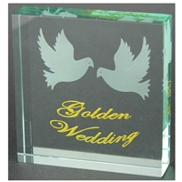 X69050 Glass Block Doves Golden Anniversary
