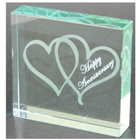 X69120 Glass Block Hearts Happy Anniversary
