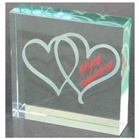 X69140 Glass Block Hearts Ruby Anniversary