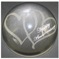 X69220 Glass P. Weight Hearts Happy Anniversary