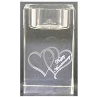 X69860 Glass T.Light Hearts Happy Anniversary