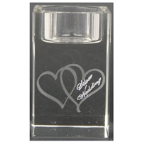 X69861 Glass T.Light Hearts Silver Anniversary