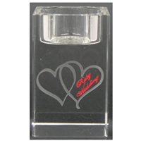 X69862 Glass T.Light Hearts Ruby Anniversary