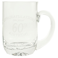 1 Pint Glass Tankard With 60th Birthday Etched Design