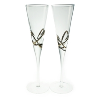 Set 2 Glass Champagne Flutes Gold Detail