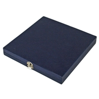 195 x 195 x 35mm Flat Hinged Blue Silk Lined Presentation