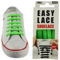 Easy Lace Silicone Shoelaces - Flat Green - Box Of 20 Pieces