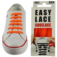 Easy Lace Silicone Shoelaces - Flat Orange - Box Of 20 Pieces