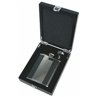 6oz Hip Flask Set - Vertical Plate. Carbon Fibre