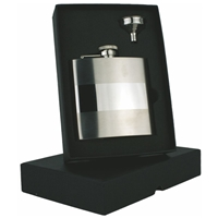 6oz Banded Hip Flask Set Stainless Steel