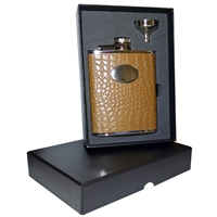 6oz Brown Faux Crocodile Hip Flask Set