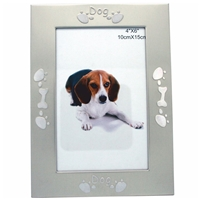 4x6 Inch Dog Picture Frame Matt Brushed Champagne