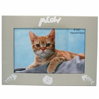 4x6 Inch Cat Picture Frame Matt Brushed Champagne