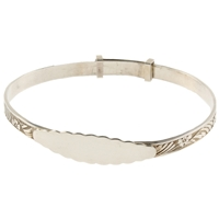 925 Silver Christening Bangle - Oval Plate