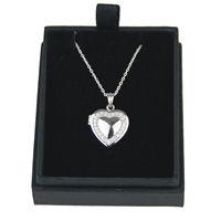 925 Silver Heart Locket With Cubic Zirconia 18 Inch Chain