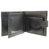 Cowhide Wallet With Coin Pocket & 3 Windows,
