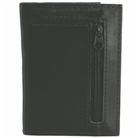 Cowhide Leather Credit Card Case, Back Zip 20 Sleeves