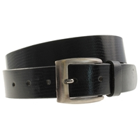 Quality Leather Belt 30mm Medium Black Shiny Lizard