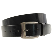 Quality Leather Belt 35mm Medium Black Shiny Lizard