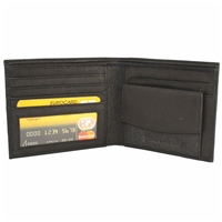 Cowhide Leather Wallet 5 Card Slots, Coin Pocket Black