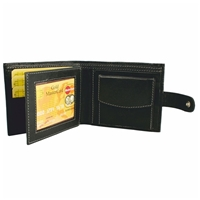Nappa Wallet With Contrast Stitching & Coin Pocket