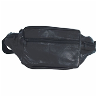 Extra Large Leather Waist Bag Black