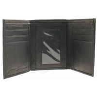 Nappa Leather Trifold Wallet Black. 2 Windows, 2 Note