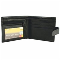 Nappa Leather Wallet. Black. 2 Zip Pockets, 3 Card Slots,