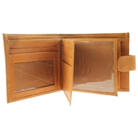 Cowhide Leather Wallet With 2 Inner Flaps + Tab. Tan