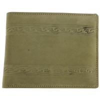 Hunter Leather, Suede Finish Wallet.Green