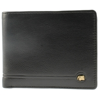 Cowhide Leather Wallet. Coin Pocket.Elephant Logo.Black