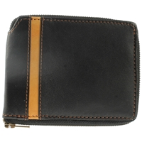 Cowhide Leather Wallet Zip Round.Black With Tan Stripe