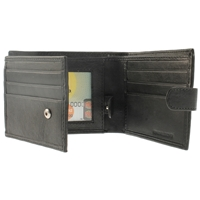 Nappa Wallet With Double Tabs And Inner Flap. Black