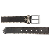 Full Grain Leather Belt With Contrasting Stitching 35mm Large Black