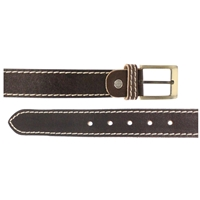 Full Grain Leather Belt With Contrasting Stitching 35mm Large Brown