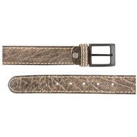 Full Grain Leather Belt With Contrasting Stitching 35mm Large Distressed Black