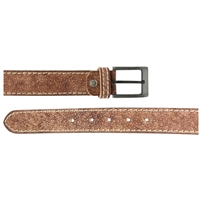 Full Grain Leather Belt With Contrasting Stitching 35mm Large Distressed Brown